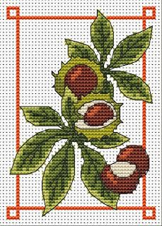 conkers October free cross stitch chart   Amanda Gregory cross-stitch design