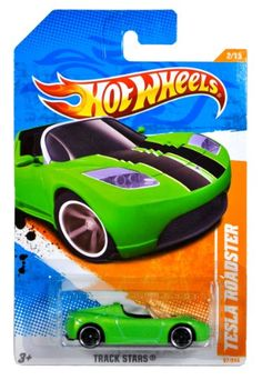 """Mattel Year 2010 Hot Wheels """"TRACK STARS"""" Series Set (2/15) 1:64 Scale Die Cast Car (67/244) - Green Color Battery Electric Vehicle BEV Sport Coupe TESLA ROADSTER $8.99"""