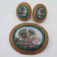 Antique Victorian 18k Gold Plated Micromosaic Malachite Brooch Earrings Set