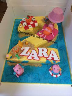 Peppy pig beach number 2 cake