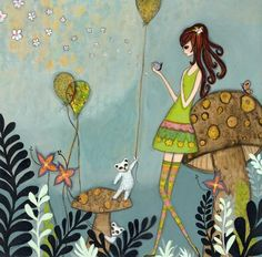 """""""She Loves Nature"""" was created as an original mixed media painting on wood. It is now in a personal collection in Washington state.<br><br>This wonderful Giclee print has a 12"""" x 12"""" image size printed on 13"""" x 19"""" archival matte paper. The print is also printed with archiv..."""