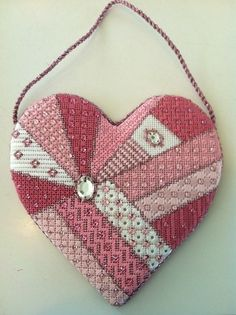 needlepoint crazy quilt heart by Nancy Cucci