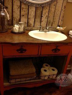 DIY Dresser Vanity for a Small Bath! turning a dresser into a bathroom vanity, bathroom ideas, paint Dresser Vanity, Furniture Vanity, Diy Vanity, Diy Furniture, Vanity Bathroom, Bathroom Ideas, Painted Furniture, Bathroom Furniture, Wood Vanity