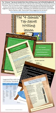 $3.50. Gr 8-12. With Unit Overview & CCSS.The 4-Senses, a Top-Secret, Guided Multi-step Writing Activity Guaranteed to Intrigue, excite and obliterate writer's block.