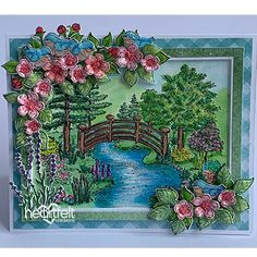 Haven of Daydreams Handmade Greeting Card - Set the perfect springtime scene for a beautiful handmade greeting card. See full supply list and instructions here! Flower Boxes, Flower Cards, Diy Flowers, Leaf Images, Flower Images, Arte Country, Country Life, Heartfelt Creations Cards, Paper Decorations