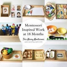 Montessori Inspired Work at 18 Months--TMM-tile 18 monate Montessori Inspired Work at 18 Months-TMM-tile - Easy Pin Montessori Preschool, Montessori Trays, Montessori Playroom, Toddler Learning Activities, Infant Activities, Learning Games, Kids Learning, 18 Month Activities, Dinosaur Activities