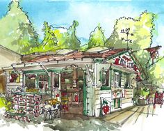 Items similar to Produce Stand, Local Food, Los Gatos, California - print of a watercolor travel sketch on Etsy Fruit Stall, Produce Stand, California Art, Urban Sketchers, Affordable Art, Art Sketchbook, Wonders Of The World, Watercolor Paintings, Gallery Wall