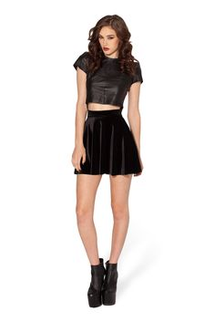 Velvet Black Skater Skirt by Black Milk Clothing