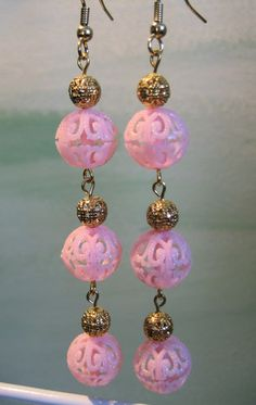 Extra Long Pink Filigree Handcrafted Dangle Earrings Gold Tone  #handcrafted #jewelry