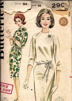 1960s Quick N Easy Shift Dress Butterick by DawnsDesignBoutique, $5.75
