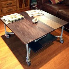 Pipe Tables for the Home. Oak board and aged pipe coffee table.