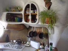 Cob house kitchen For my hobbit house Cob House Interior, Home Interior Design, Kitchen Interior, House Interiors, Modern Interior, Bohemian House, Bohemian Kitchen, Earthy Kitchen, Stone Kitchen