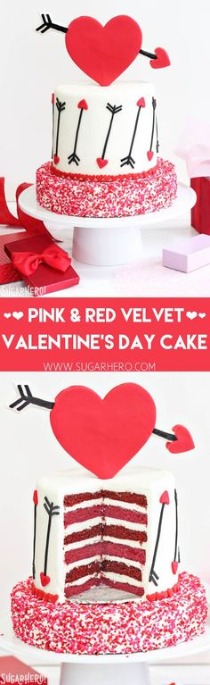 Pink and Red Velvet Valentine's Day Cake - a pink and red velvet cake with a heart and arrow design for Valentine's Day!   From SugarHero.com
