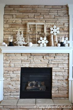 Winter mantel - accented with snowflakes, snow balls, trees, and birch wood