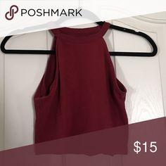 burgundy halter top never worn // great for summer // not brandy Brandy Melville Tops Crop Tops