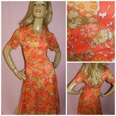 Vintage 60s 70s ORANGE FLOWER POWER Kitsch Dolly Mod Scooter Tea dress 12-14 Psychedelic 1960s bold Modette by HoneychildLoves on Etsy