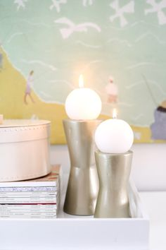 DIY Modern Metallic Candle Holders