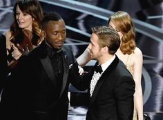 'Moonlight' actor Mahershala Ali with Ryan Gosling and Emma Stone after it was discovered 'La La Land' was mistakenly announced as Best Picture onstage during the 89th Annual Academy Awards at Hollywood & Highland Center on February 26, 2017 in Hollywood, California.