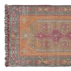 MORGIANA DHURRIE RUG--A beautiful, dusty-colored print on over-dyed, stonewashed cotton/polyester adds magic to any room in the house. Fringe on two ends. Imported. Exclusive. 2-1/2' x 8',  4' x 6', 5' x 8', and 6' x 9'.