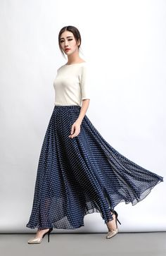 Polka Dot Chiffon Skirt Maxi Long Floaty Long Sheer by YL1dress