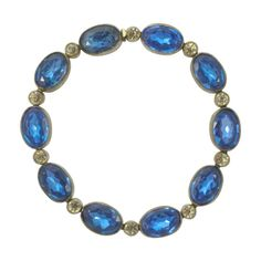 For Sale on - Art Deco Czech silver plated link bracelet, featuring bezel set oval blue glass stones in flower decorated settings, and clear rhinestones. Blue Bracelets, Ruby Bracelet, Link Bracelets, Beaded Jewelry, Handmade Jewelry, Beaded Necklace, Jewelry Accessories, Jewelry Design, Natural Stone Jewelry