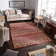 Teppich Baio in Rot Contemporary Rugs, Modern Rugs, Contemporary Interior, Aubusson Rugs, Tribal Patterns, Geometric Rug, Red Rugs, Color Shades, Chinese Style