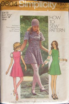 Simplicity 9804 Misses Mini-Dress Sewing Pattern Size 10 Uncut Simplicity 9804 Misses Mini-Dress Sewing Pattern Size 10 Uncut by SimpsonDesignsStudio on Etsy Vintage Dress Patterns, Dress Sewing Patterns, Clothing Patterns, Vintage Dresses, Vintage Outfits, 1970s Dresses, Vintage Clothing, 60s And 70s Fashion, Retro Fashion