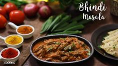 Bhindi Masala Prep time - 20 mins Cooking time - 45 minutes Number of servings - 4 persons Ingredients Lady's Finger/Bhindi - 250 Gms Oil Whole Spice (Bay Le. Spicy Recipes, Curry Recipes, Vegetarian Recipes, Cooking Recipes, Healthy Recipes, Cooking Time, Bhindi Masala Gravy Recipe, Garam Masala, Indian Okra Recipes