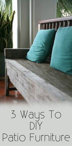 pIf you are looking for a way to save money on patio furniture this year and do some of the work yourself, here are some ideas: Build The Furniture Yourself With and some tough exterior paint or sealer, you can build your own patio set. Furniture Projects, Home Projects, Diy Furniture, Painted Furniture, Antique Furniture, Outdoor Furniture, Outdoor Projects, Modern Furniture, Wicker Furniture