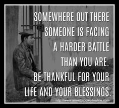 Be thankful for your blessings