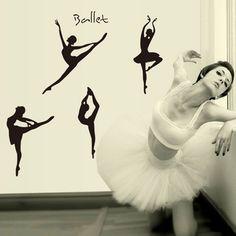 DIY Adesivos de Parede Decalques de Parede Ballet Adorável Cartaz Adesivos Para Decoração de Casa Decoração Do Quarto Das Meninas Do Bebê Dos Miúdos do Estúdio de Dança Ballet