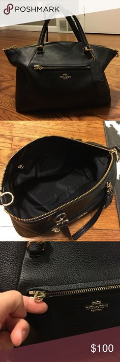 Coach Bag Beautiful black bag with gold hardware from coach! Was used only a few times.. lovely piece! Coach Bags Crossbody Bags