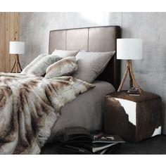 Tête de lit imitaton cuir marron L 140 cm Sellier | Maisons du Monde