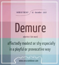 Unscrambling demure we found 130 valid Scrabble words and scores. 130 words unscrambled with the word unscrambler. Interesting English Words, Unusual Words, Weird Words, Rare Words, Cool Words, English Vocabulary Words, English Phrases, Learn English Words, English Grammar