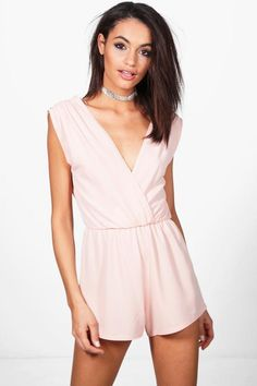 6a209938b3 Boohoo Sophie Pleated Shoulder Playsuit Pink Size 10 rrp 10.00 SA078 FF 15   fashion