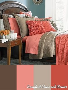 Cute bedroom colors if we were to change from blue and tan :)