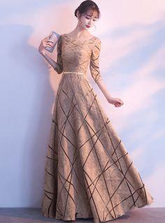 Half Sleeve O-neck Slim Maxi Evening Dress Hijab Prom Dress, Prom Dresses With Sleeves, Beautiful Prom Dresses, Pretty Dresses, Dance Dresses, Ladies Dresses, Fairytale Dress, Luxury Wedding Dress, Lady