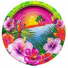 Luau Party Dinner Plates 8ct - 214131 | Party-ify! #luau #luauparty #hawaiianparty #tikiparty #tropical #tropicalparty