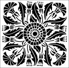 Tile No 9 stencil from The Stencil Library ARTS AND CRAFTS range. Buy stencils online. Stencil code DE96.