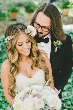 Bohemian Bride and Groom | Photo: OneLove Photography | Dress: Marisa Bridals | Tux: Tom Ford |