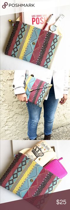 Aztec print clutch bag Aztec print clutch bag. Canvas bag, 11 x 8 in. Bags Clutches & Wristlets