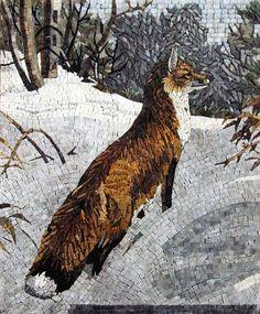 Fox in The Snowy Mountain Mosaic Stones Art Wall Mural  