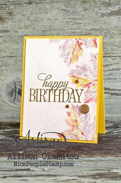 nice people STAMP!: Vintage Leaves Birthday Card: #tgifc13