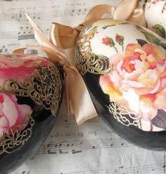 """Купить пасхальные яйца """"Акварельные розы"""" - черный, розовый, красный, зеленый, голубой, оранжевый, яйцо"""