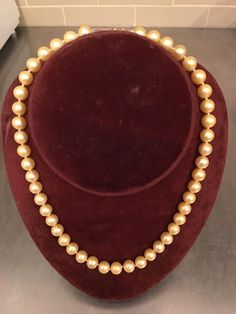 "Pale Golden Cream Pearl Necklace 14k Yellow Gold Clasp 18"" Vintage Estate  