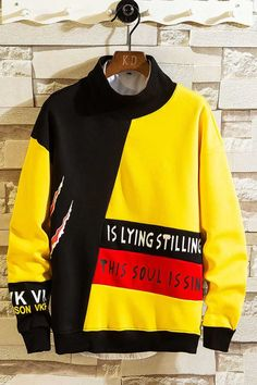 Men's long sleeve pull over pattern & letter print, multi c. - Men's long sleeve pull over pattern & letter print, multi color, high neck. Style Grunge, Soft Grunge, Shirt Print Design, Shirt Designs, Tokyo Street Fashion, High Neck, Boys T Shirts, Hoodies For Boys, Stylish Hoodies