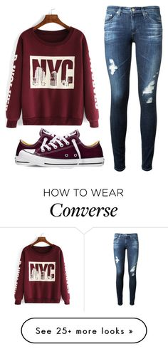 """Untitled #486"" by gracehuddlestun on Polyvore featuring moda, AG Adriano Goldschmied y Converse"