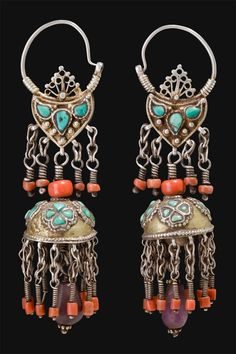 Uzbekistan | Silver, gold wash, turquoise and coral earrings from the first half of the 1900s. |  550€