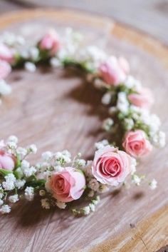 A Rustic Barn Wedding at Rivercrest Farm Floral crown for flower girl created with baby's breath and pink roses created by Pam's Posies Florist The post A Rustic Barn Wedding at Rivercrest Farm appeared first on Ideas Flowers. Bridal Flowers, Flowers In Hair, Purple Flowers, Pink Roses, Rose Flowers, Tea Roses, Exotic Flowers, Yellow Roses, Casco Floral