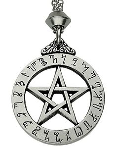 Handmade Witches Rune Pentacle Pentagram Pewter Pendant ~ Wicca Pagan (with 22 inch Chain). Hand Made. Double sided design. Made of high quality excelsior pewter. Approx. pendant size: 3.2 centimetre in diameter. Stainless steel chain of 22 inch length. Weight: 12.4 grams. The script around the outside of this pentacle is said to be a relic from the Atlantean days. These magical letters are thought to be connected to the Cabalistic Enochian Script of the Elizabethan astrologer and magician…